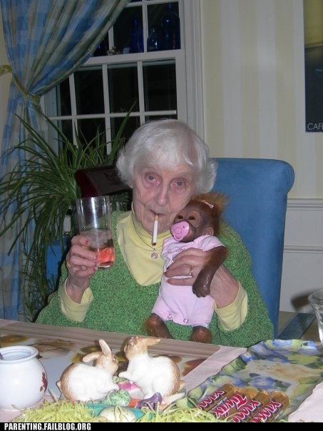 candy grandma monkey smoking