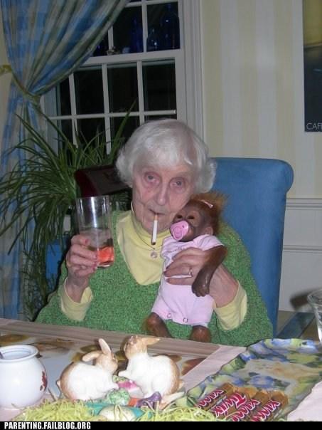 candy grandma monkey smoking - 6419724288
