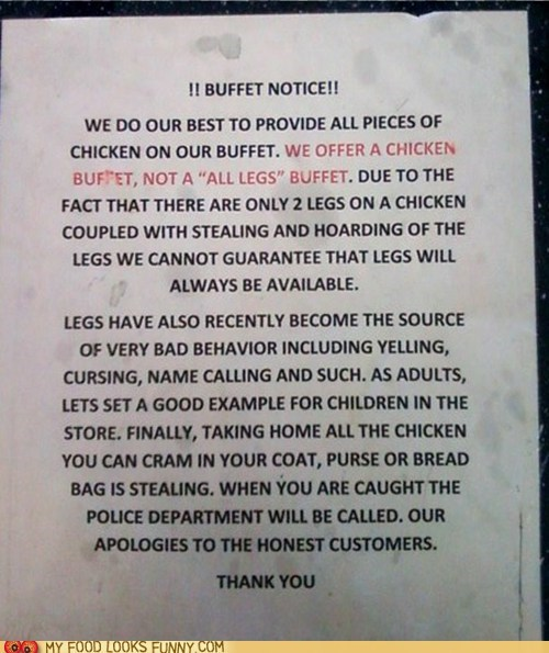 buffet,chicken,greedy,legs,rules