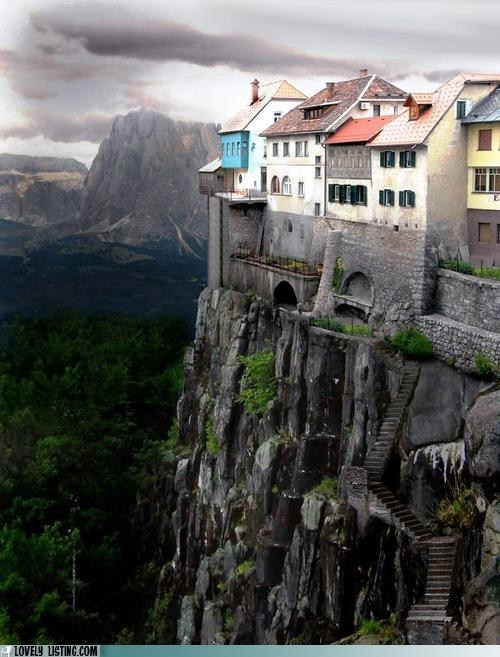 cliff,hill,rock,stairs,valley,view,village