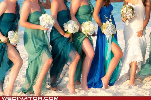 beach,bridesmaids,dresses,funny wedding photos,ocean,sea,wedding fashion