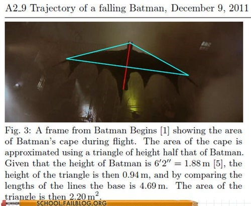 batman,class is in session,physics 503,trajectory of a falling b,trajectory of a falling batman