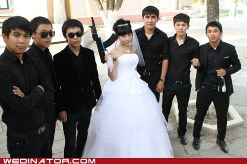 bride,funny wedding photos,groom,Groomsmen,guns