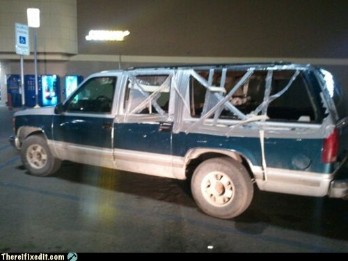 car window,chevy suburban,duct tape,suv,window