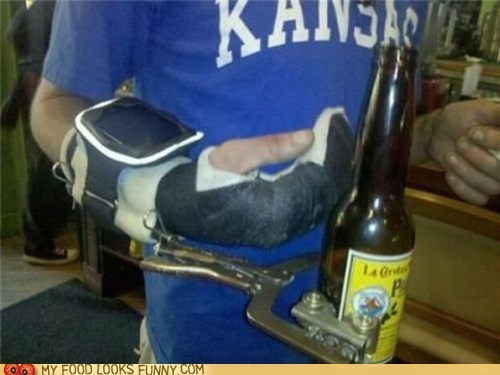 arm,beer,cast,creative,cup holder