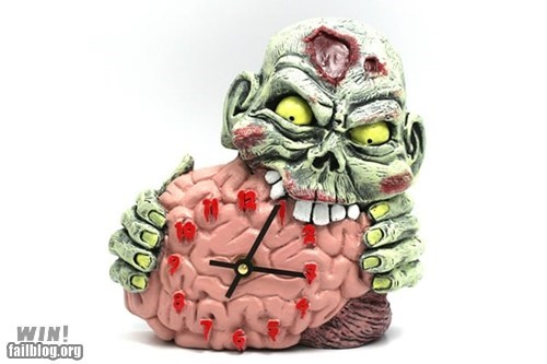 brains,clock,design,nerdgasm,zombie