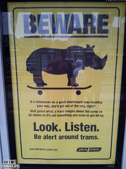 clever psa rhino sign train tram warning - 6421005824
