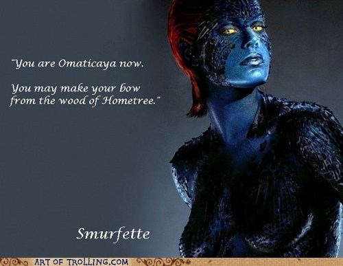 Avatar blue men misquotes mystique smurfette