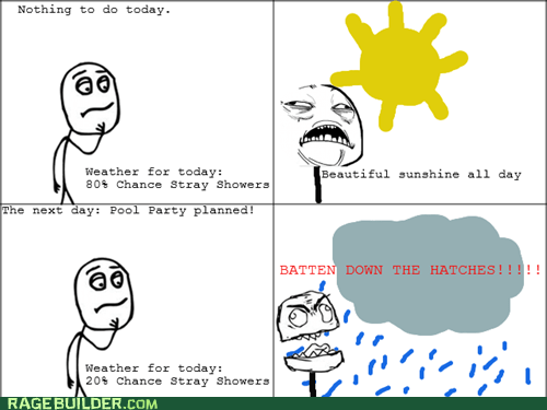 pool party Rage Comics rain weather - 6422023424