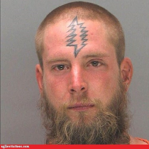 forehead tattoo,lightening bolt,mugshot