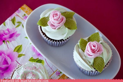 chocolate cupcakes epicute flowers mint roses - 6422946048