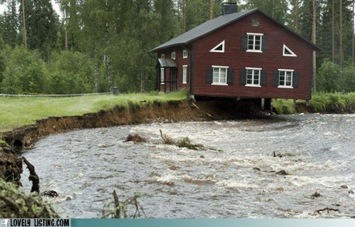 bank eroded flood house river
