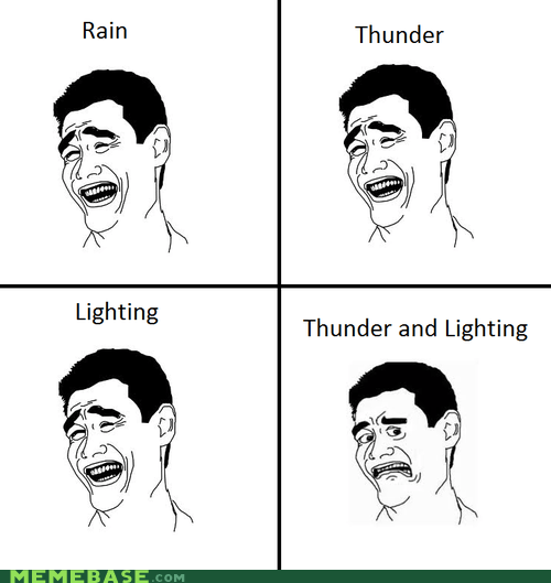 lighting,Rage Comics,rain,thunder,weather,yao ming