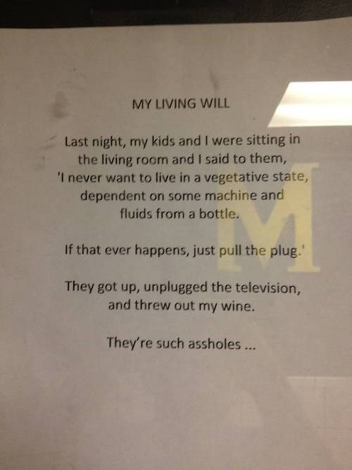 living will Parenting FAILS pull the plug television wine