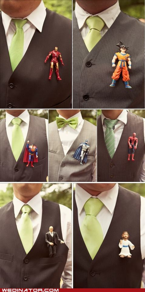 Boutonniere,dragonball,funny wedding photos,geek,superman
