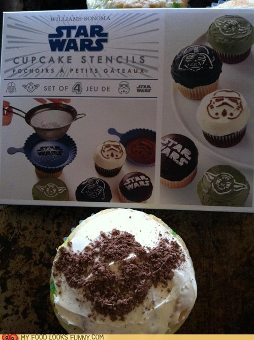 cocoa powder cupcakes Nailed It star wars stencil