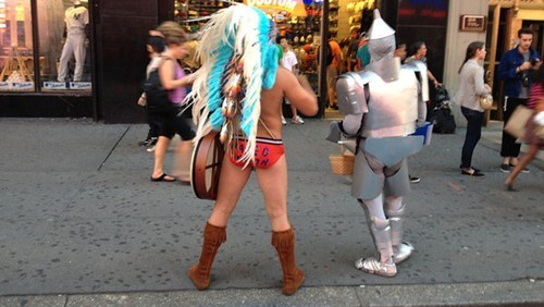 cowboys and indians naked cowboy naked indian street performer showdown Times Square - 6423517696