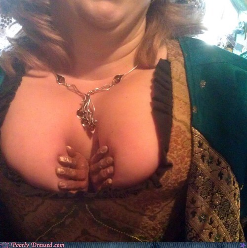 bewbs cleavage escape g rated help poorly dressed trapped