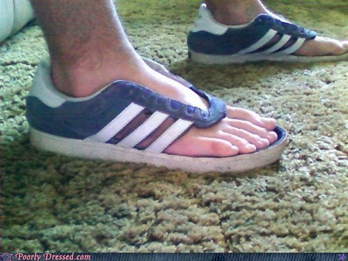 adidas DIY modification sandals shoes stripes