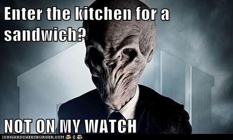doctor who,forget,kitchen,not on my watch,sandwich,the silence