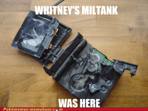 destroyed,gameboy advance,IRL,Memes,miltank,rollout,whitney
