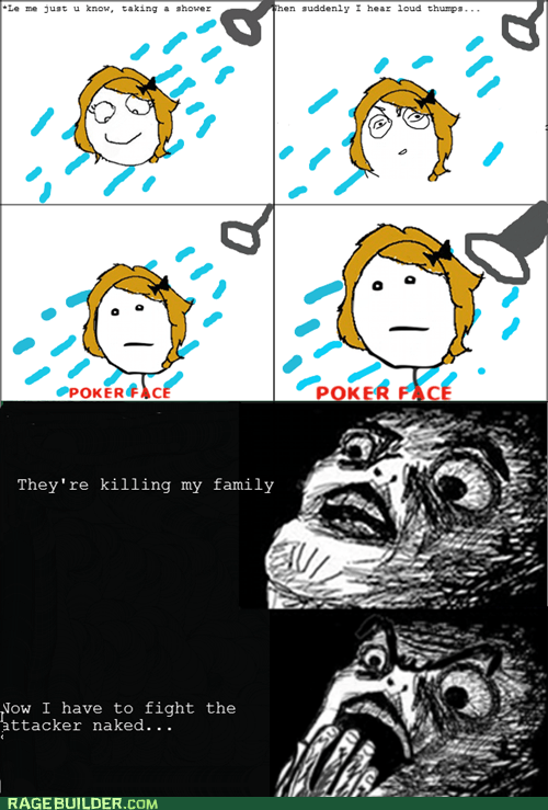 murder,poker face,Rage Comics,raisin face,raisin horror,shower