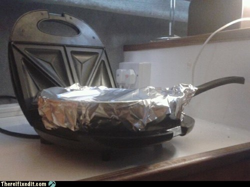frying pan,microwave,stove,tin foil