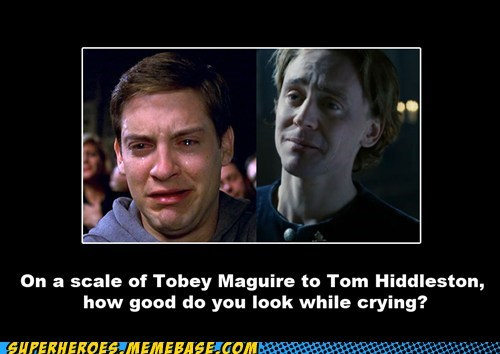 crying,Super-Lols,toby mcguire,tom hiddleston