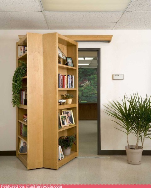bookcase door hidden secret shelves