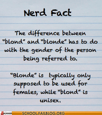 blond blonde gender in language good to know nerd fact - 6427163392