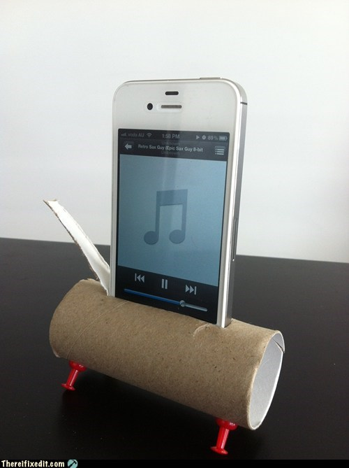 Toilet paper iPhone speakers
