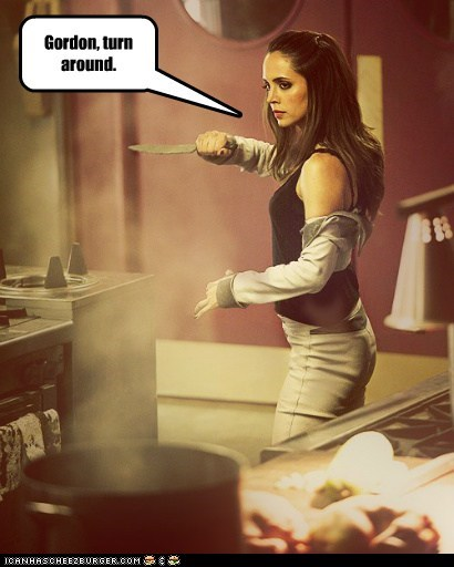 doctor who,dollhouse,eliza dushku,gordon ramsay,knife,threaten
