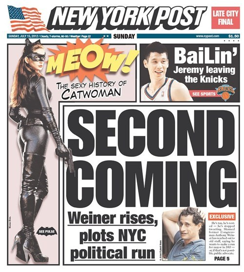 Anthony Weiner headlines New York Post - 6428419584
