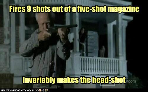 best effective gun head shot hershel greene magazine scott wilson The Walking Dead zombie - 6428646400
