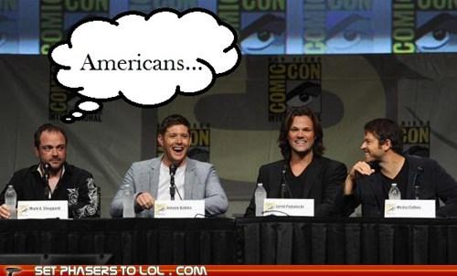 americans,annoyed,eyeroll,Jared Padalecki,jensen ackles,laughing,misha collins,Supernatural