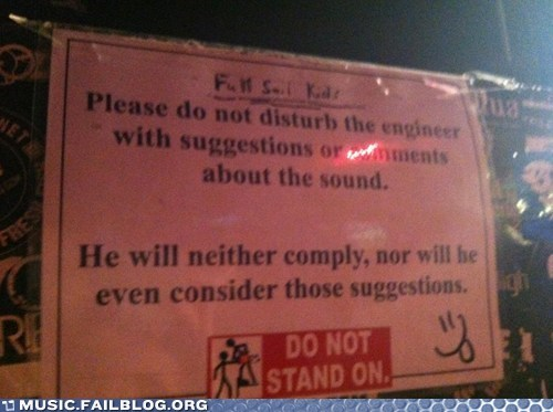 engineer sign sound booth soundboard Soundboards stage crew - 6428963328