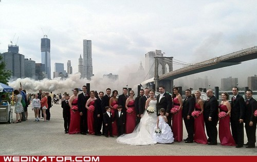 birde,fire,funny wedding photos,new york city,smoke,wedding party