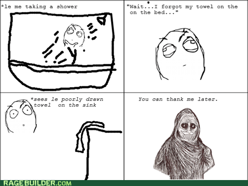 Rage Comics shadowlurker showertimes towel - 6429780992