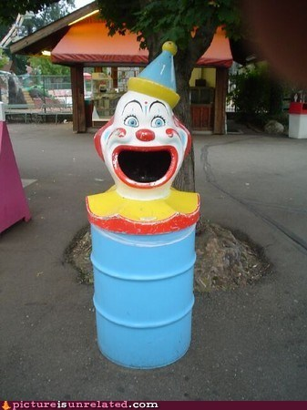 clown,creepy,garbage can,omnomnom,wtf