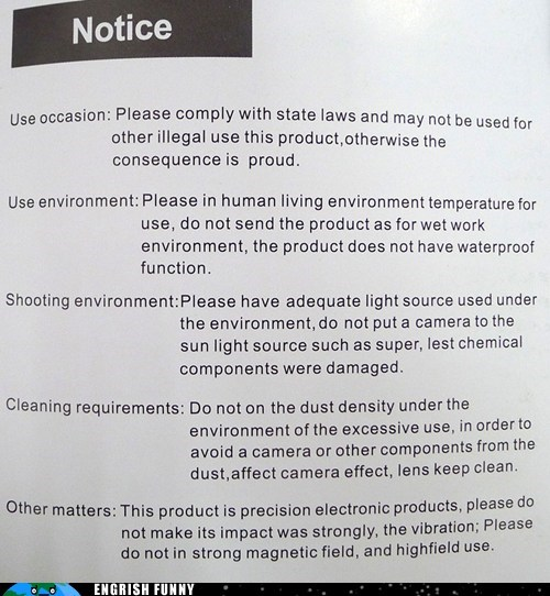 camera,cleaning requirements,notice