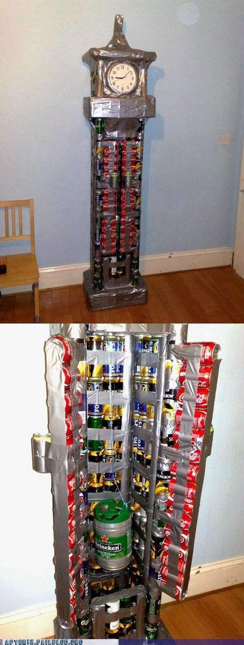 beer cans,clock,grandfather clock