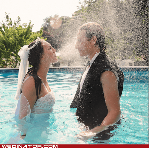 bride,funny wedding photos,groom,pool,splash