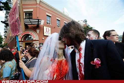 bride groom,comic con,comicon,funny wedding photos,KISS,zombie