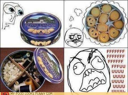 angry,butter cookies,can,Rageface,sewing kit,tin,trick