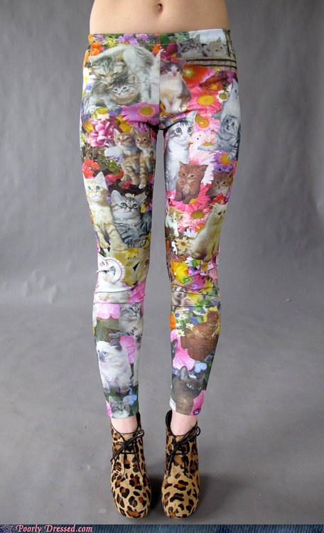 Cats flowers g rated kitschy pants poorly dressed skinny jeans what