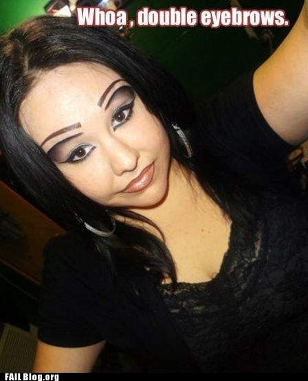 double eyebrows,eyeliner,makeup