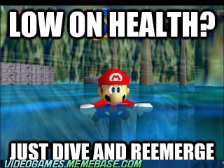 health,low on health,mario,mario 64,swimming,tips and tricks