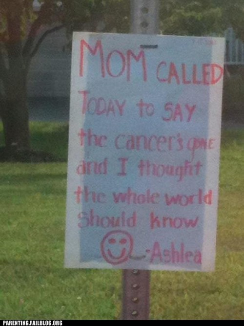 cancer,motherdaughter,smiley face,yard sign