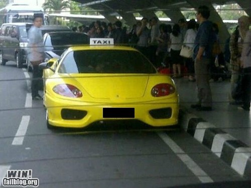 airport BAMF sports car taxi