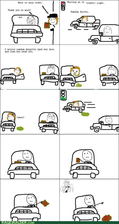 driving food puke Rage Comics
